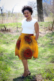 Kebbi  Gathered Skirt-Yellow and Red