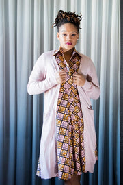 Calabar Dress - Shirt Dress in Pink and brown