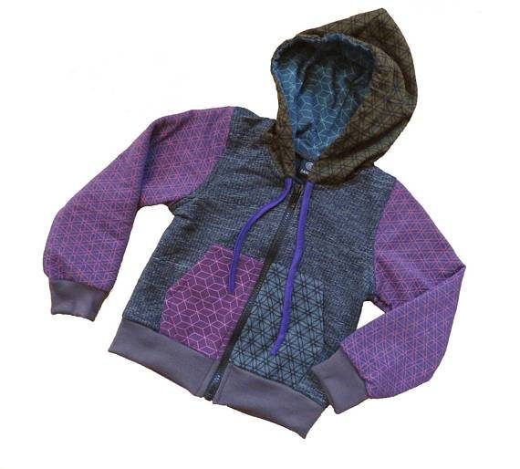 bunter Patchwork Kinder Pulli mit Kapuze in lila