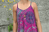 lockeres Sommer Top mit floralem Muster in violett