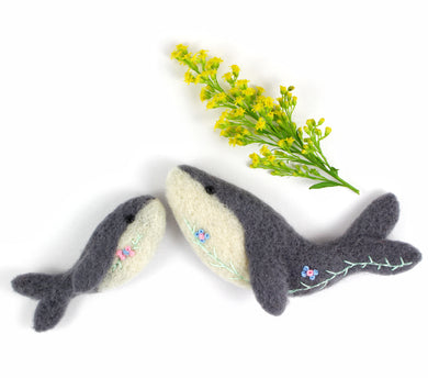 Needle Felted Whale Brooches