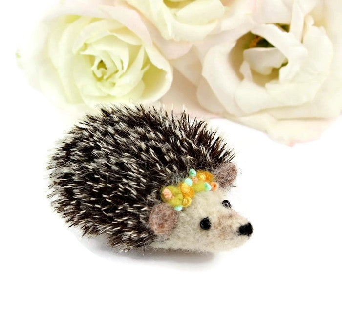 Needle Felted Hedgehog Brooch