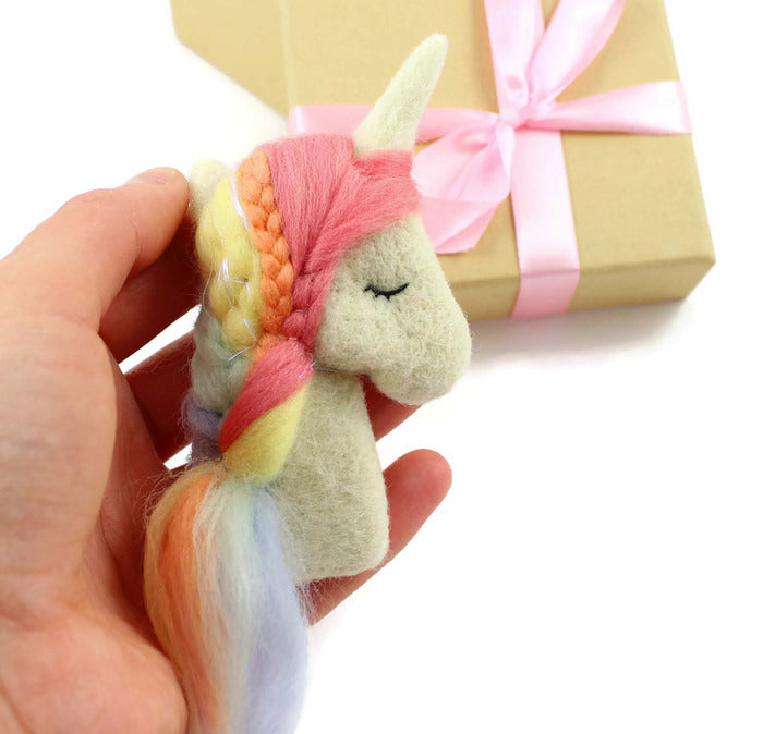 Needle Felted Pastel Rainbow Unicorn Brooch