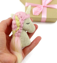 Needle Felted Pink Unicorn Brooch