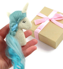 Needle felted Ocean Blue Unicorn Brooch