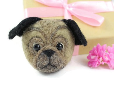 Needle Felted Pug Brooch