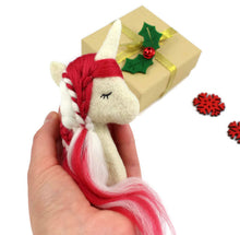 Needle Felted Candy Cane Unicorn Brooch