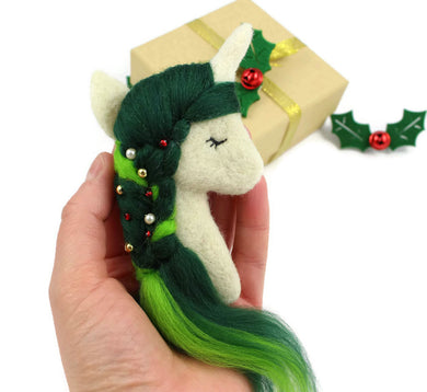 Needle Felted Christmas Unicorn Brooch