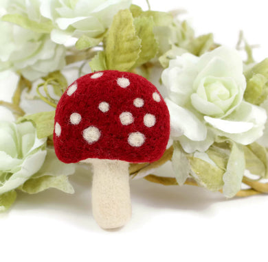 Needle felted Toadstool Brooch