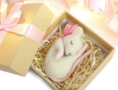 Needle Felted Sleepy Mouse Sculpture