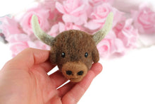 Needle Felted Buffalo / Ox Brooch