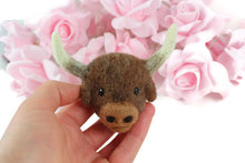 Needle Felted Buffalo Ox Brooch