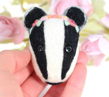 Needle Felted Badger Brooch