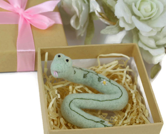 Needle Felted Snake Sculpture