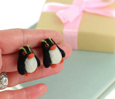 Needle Felted Penguin Earrings