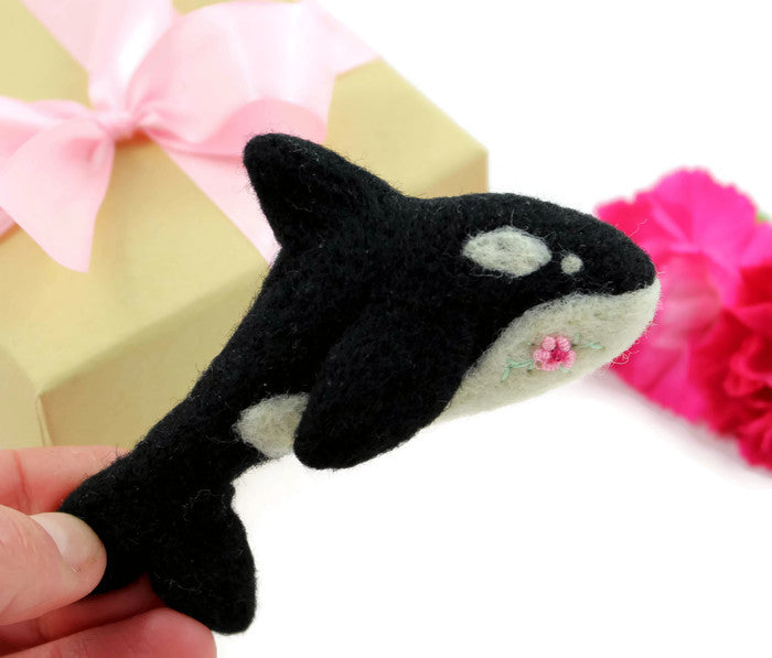 Needle Felted Orca Whale Brooch