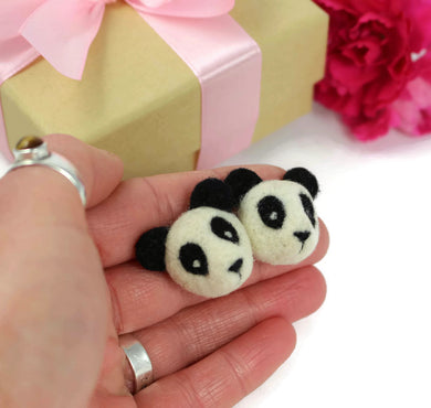 Needle Felted Panda Earrings