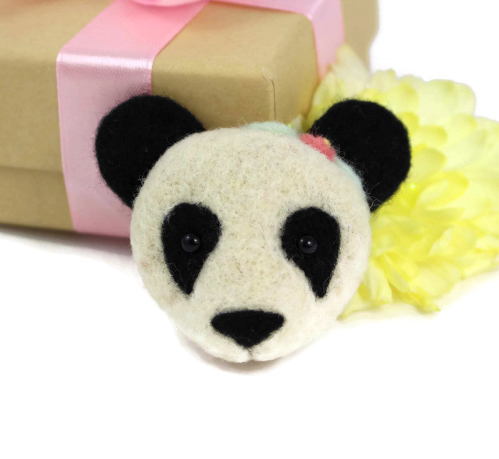 Needle Felted Panda Brooch