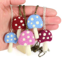 Needle Felted Toadstool Necklace