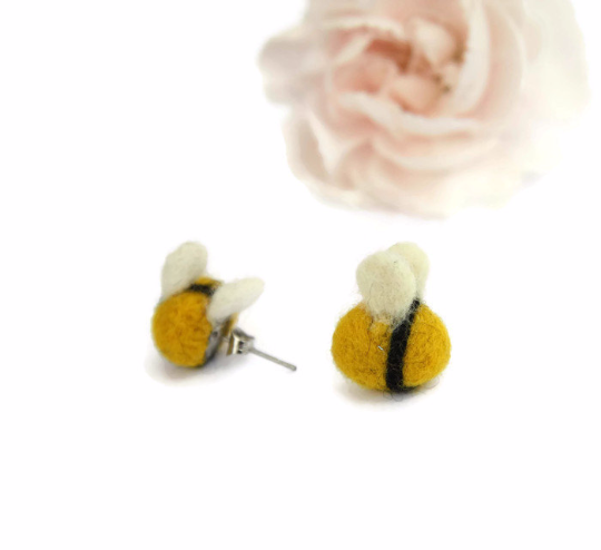 Needle felted Bumblebee earrings