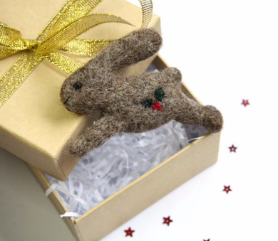 Needle Felted Christmas Hare Brooch