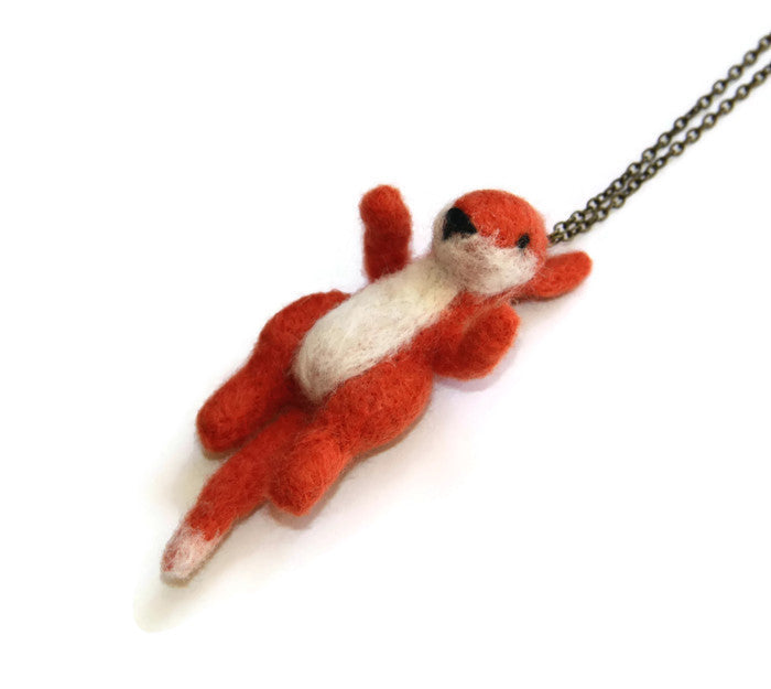 Needle Felted Fox Necklace