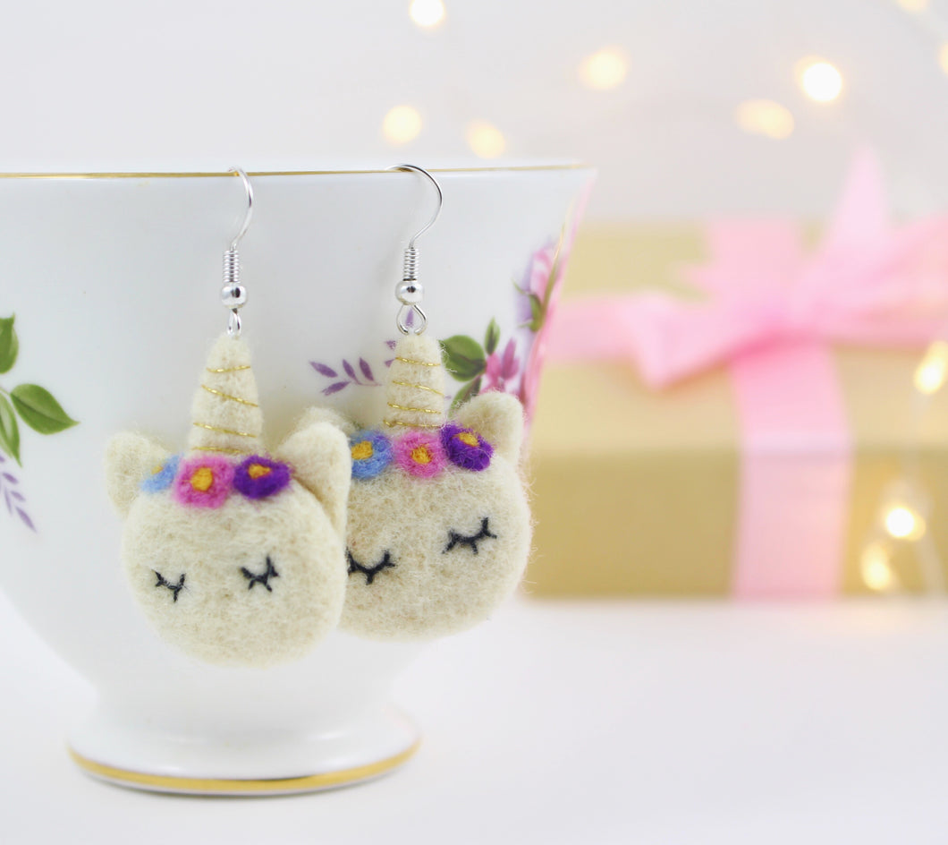 Needle felted Unicorn Earrings