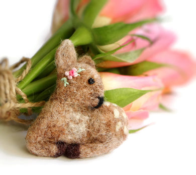 Needle Felted Fawn Brooch