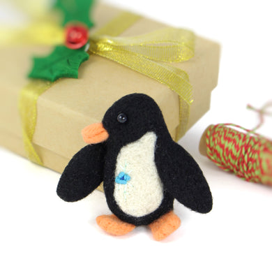 Needle Felted Penguin Brooch