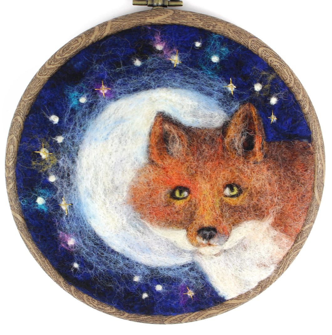 Fox and Moon Wool Painting