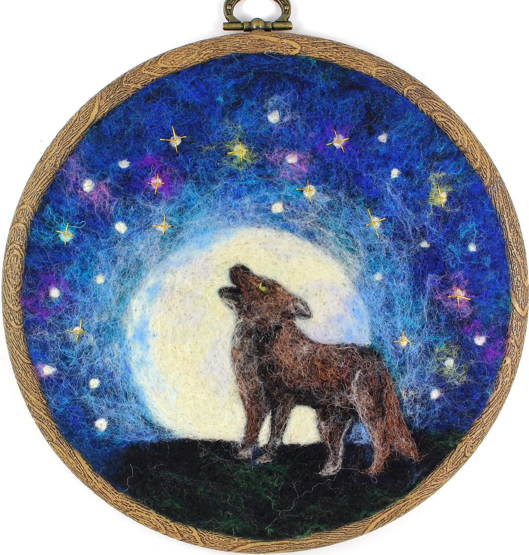 Wolf and Moon Wool Painting