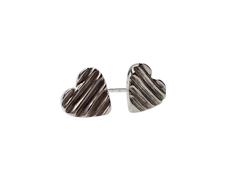 SILVER CARVED HEART STUDS