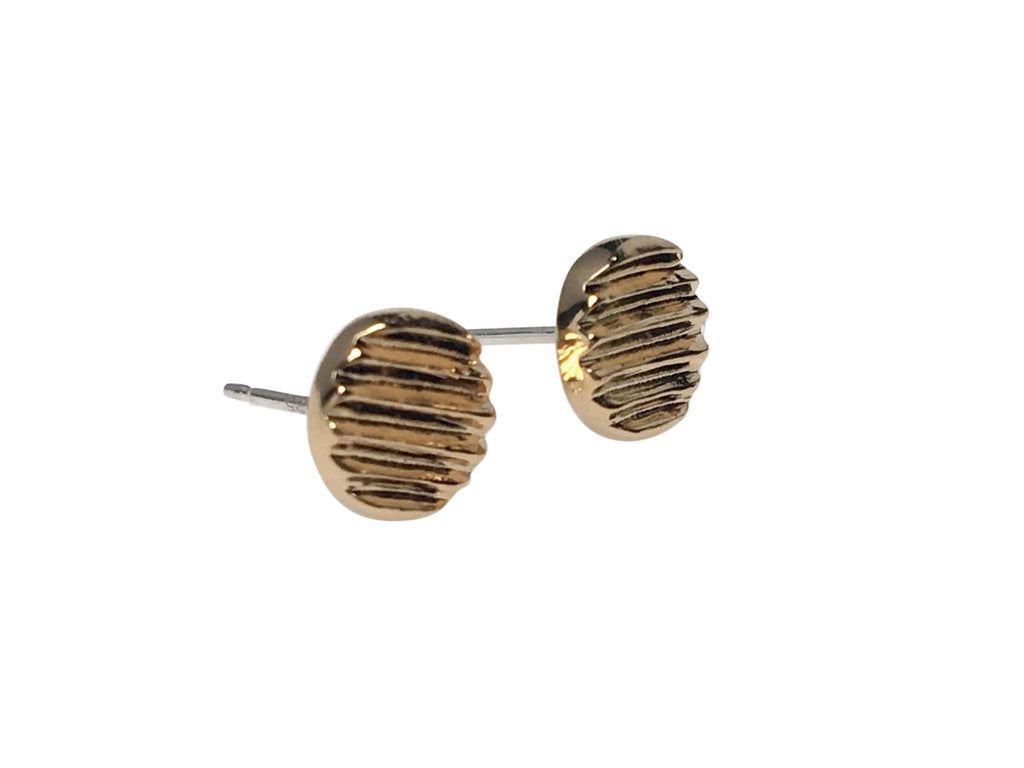 GOLD CARVED DISC STUDS