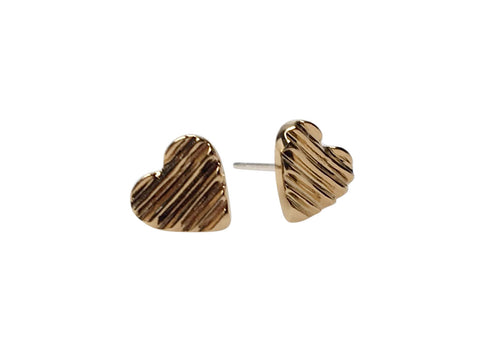 GOLD CARVED HEART STUDS