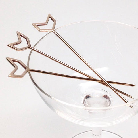 Chevron Cocktail Picks- Gold Plated