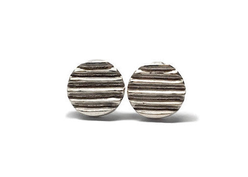 SILVER CARVED DISC STUDS