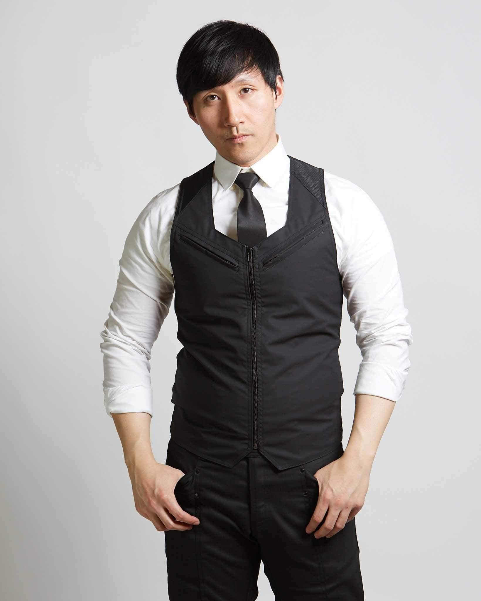 zippered formal mens vest in modern style