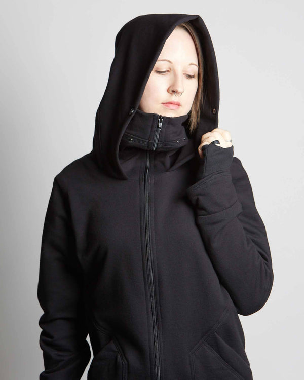 handmade cyberpunk style hoodie with specialized deep hood