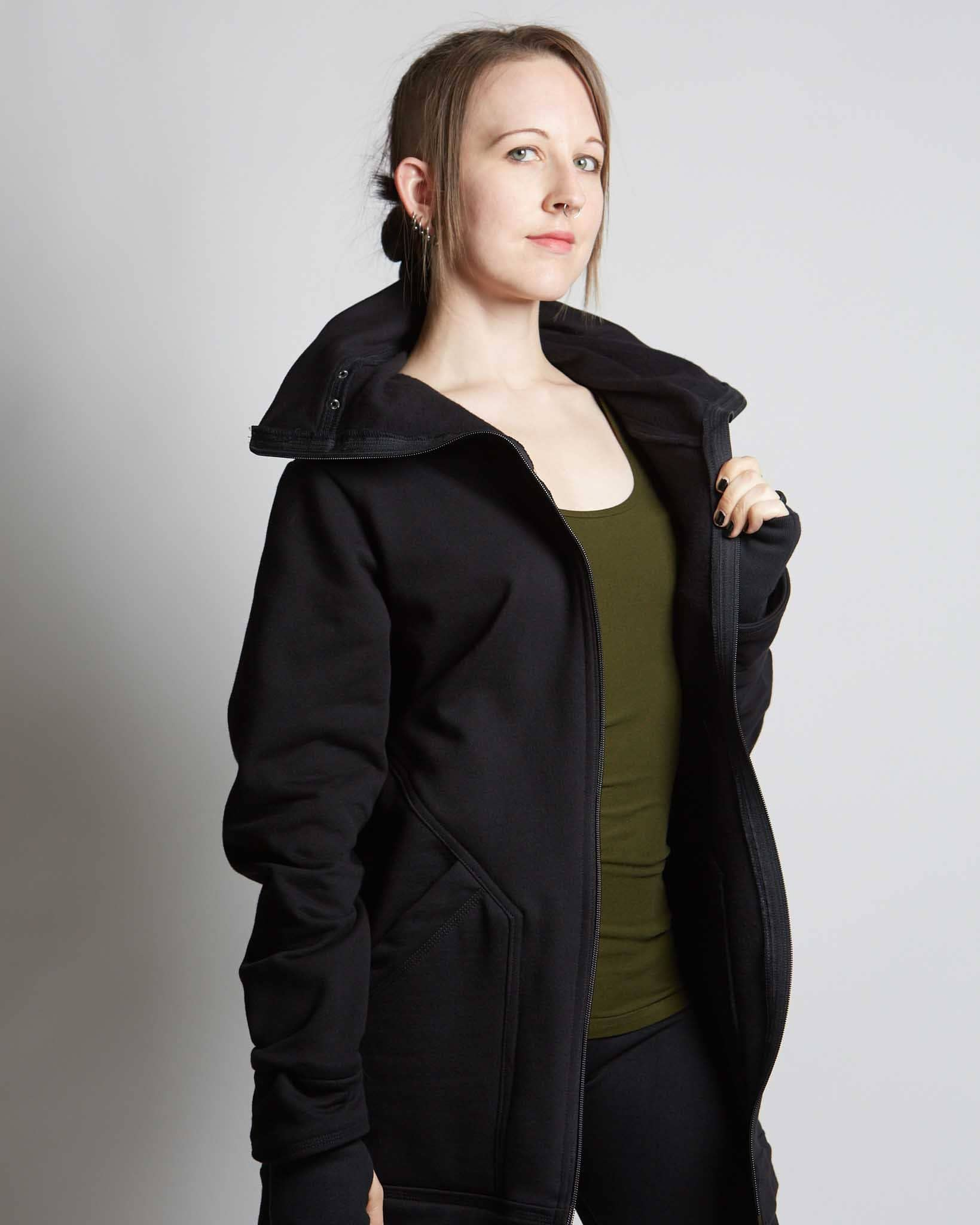 modern style hoodie with super deep hood and zippered cowl