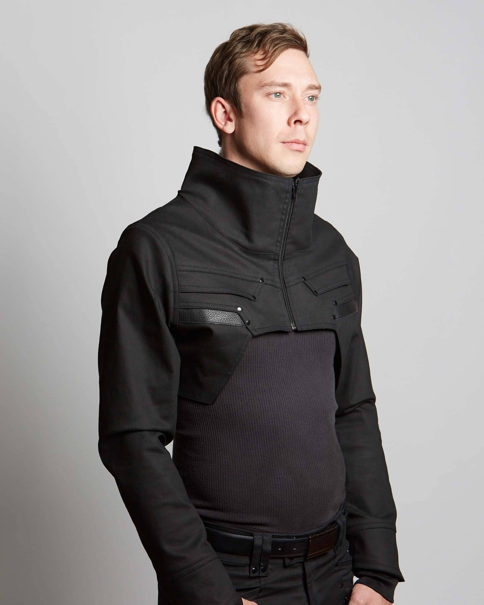 cyberpunk style crop top for men and women with leather accents
