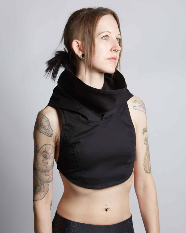 Women's black linen top with adjustable hood