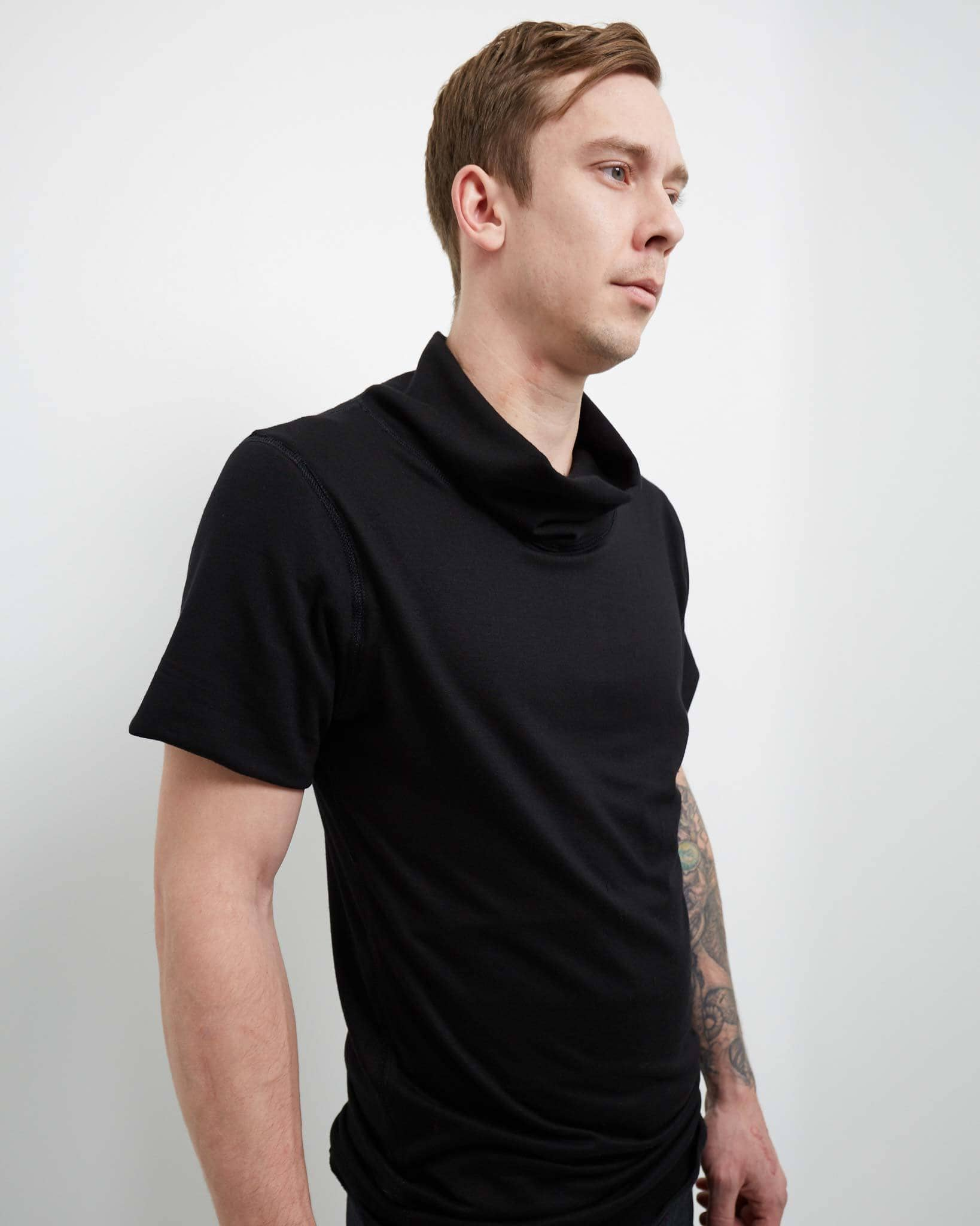 cowl neck casual modern shirt for men