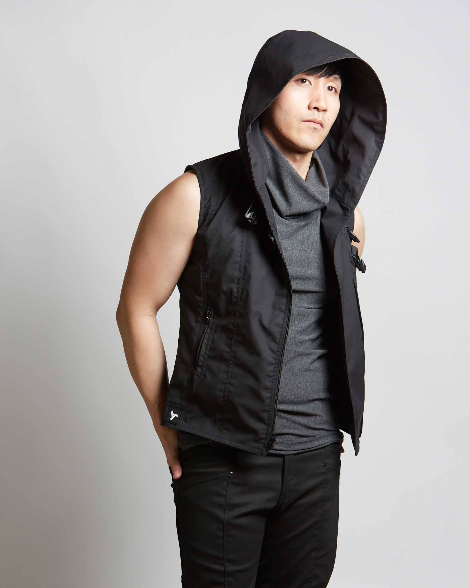 mens hooded black modern style vest