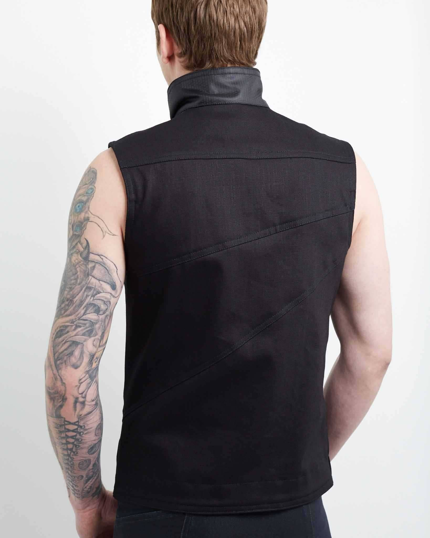 clean, edgy looking mens vest with cyberpunk aesthetic
