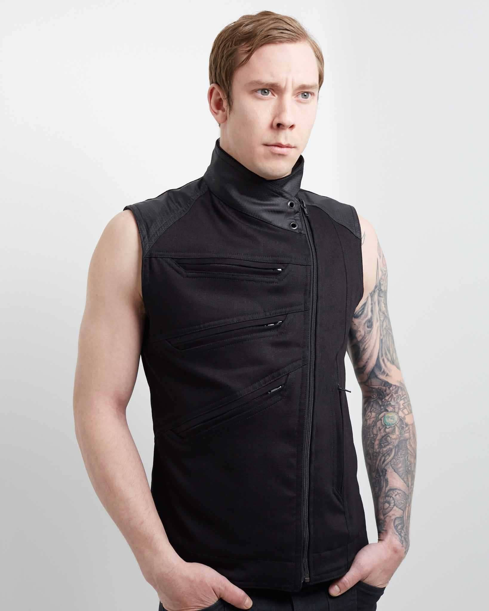 modern mens vest with asymmetrical pockets and hex accent