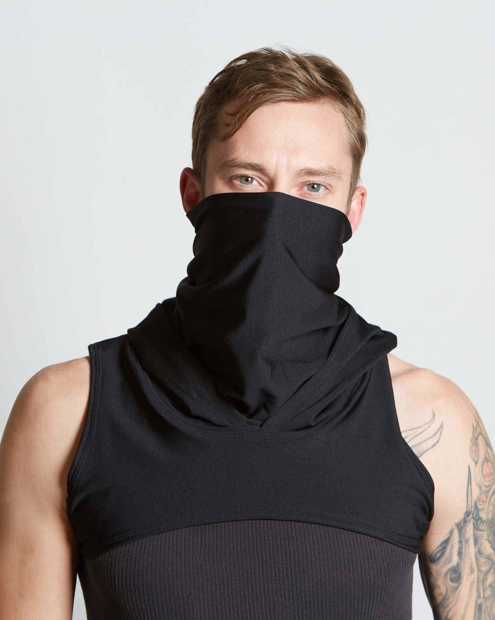 black neck and face gaiter with integrated hood