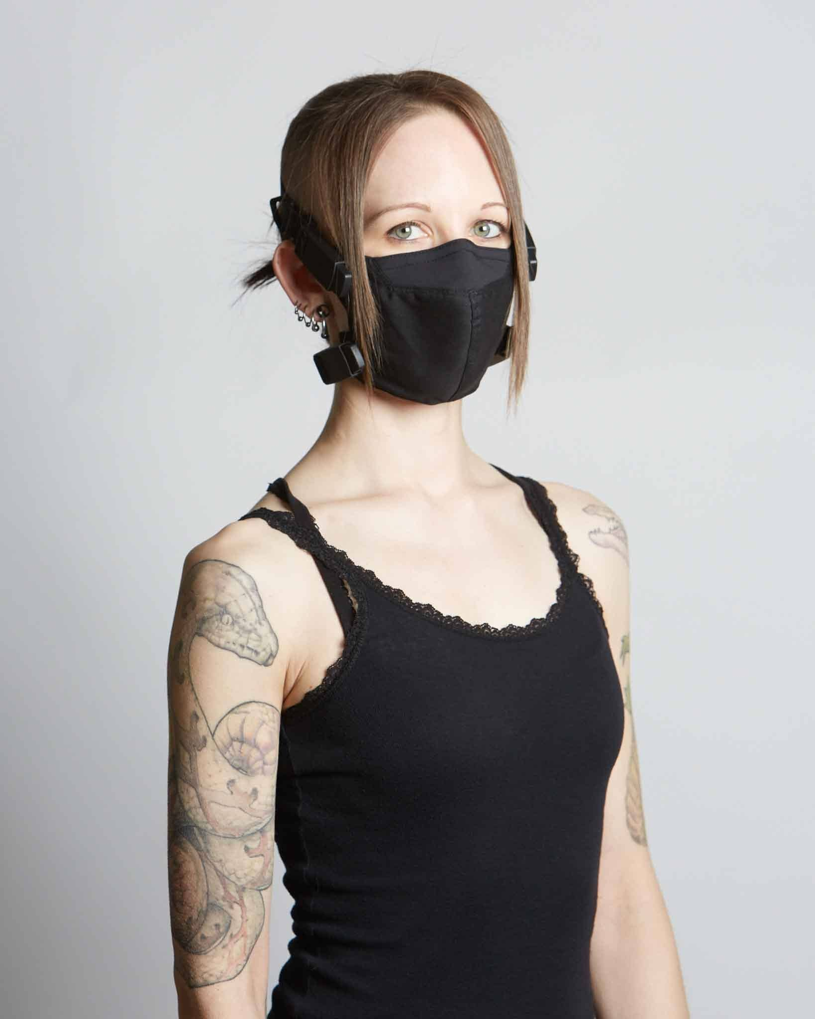 Futuristic streetwear style COVID face mask with magnetic hardware