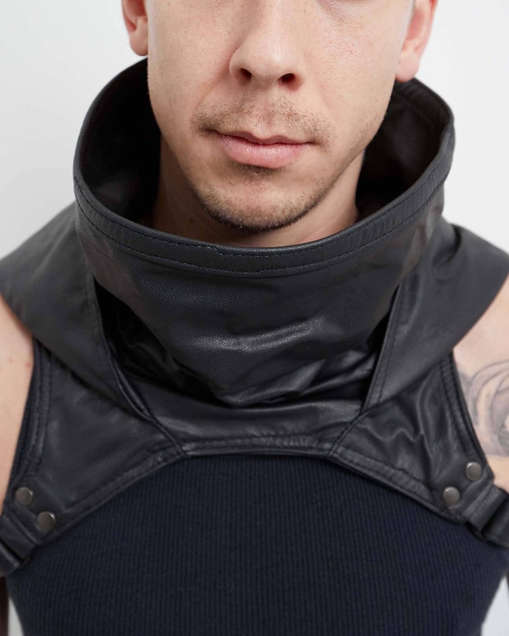 handmade wasteland black leather cowl
