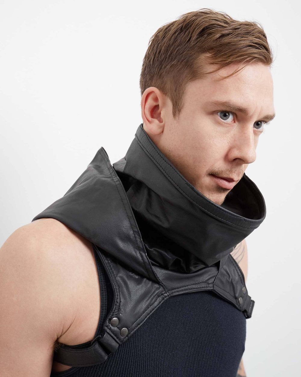 full grain futuristic leather cowl