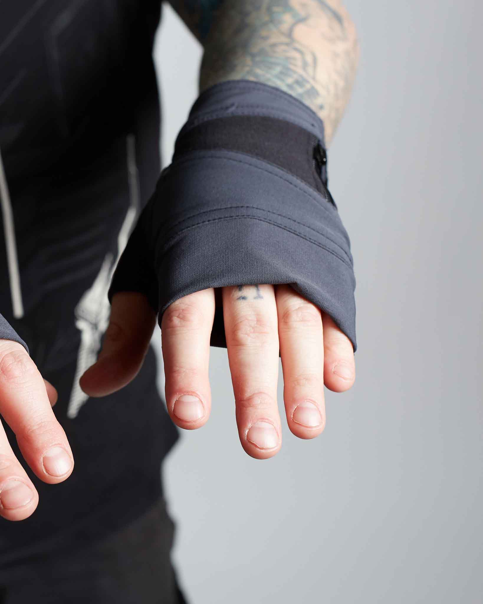 Cyberpunk style designer gloves with two tone look